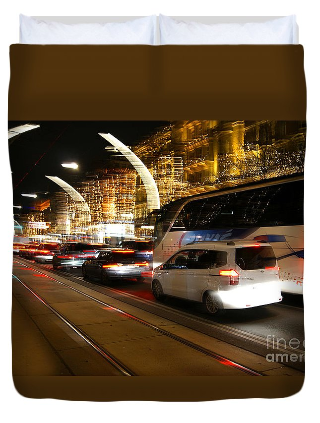 Wien Duvet Cover featuring the photograph Night In Vienna City by David Birchall