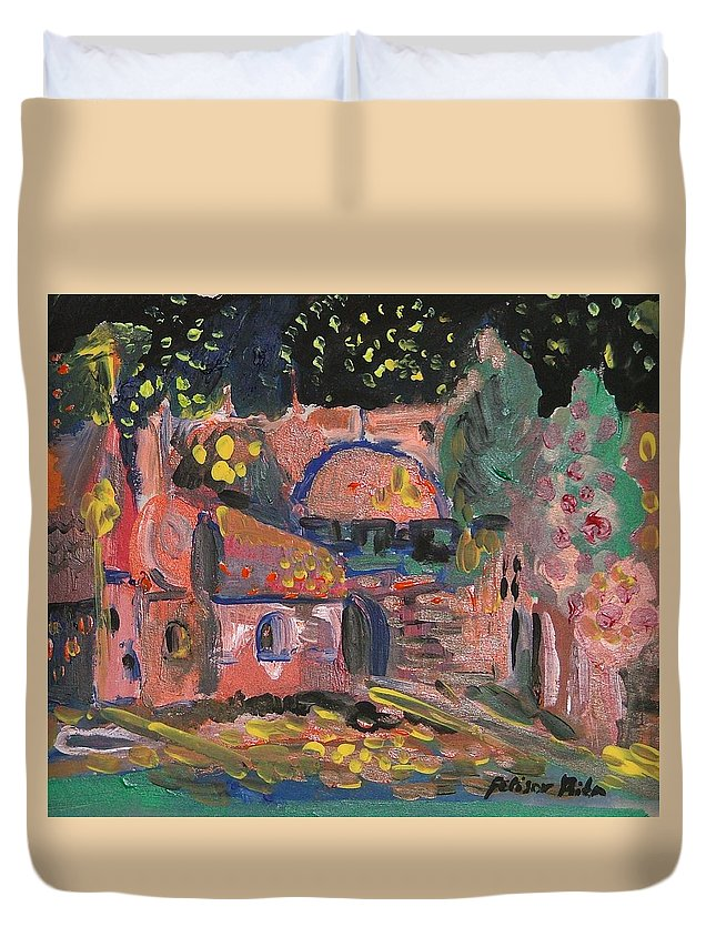 Landscape Duvet Cover featuring the painting Night Landscape by Rita Fetisov