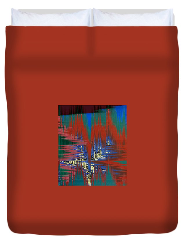 Abstract Duvet Cover featuring the digital art Night Life In The City by Lenore Senior