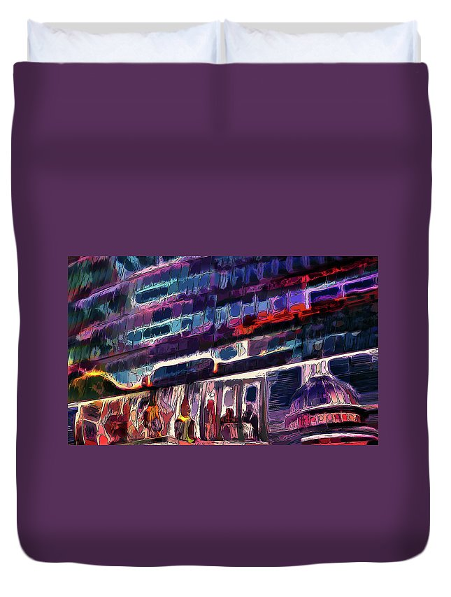 City Duvet Cover featuring the painting Night Lights Of London by Alex Galkin