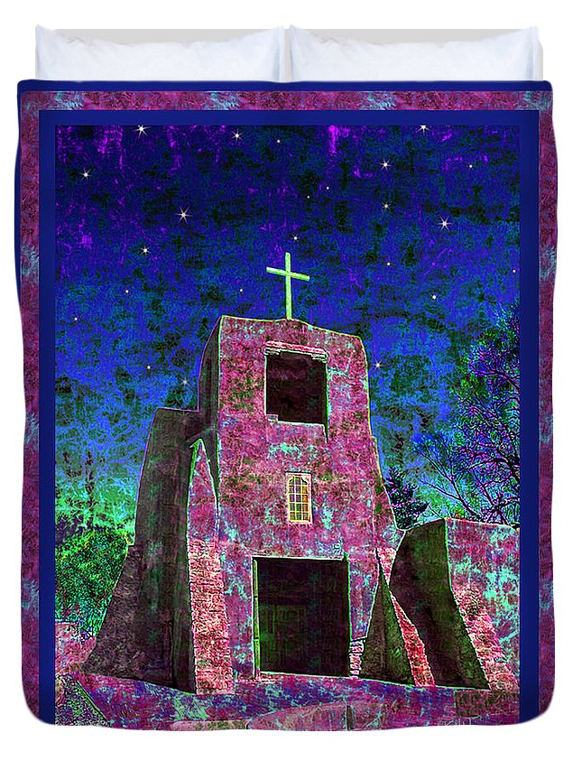 Mission Duvet Cover featuring the photograph Night Magic San Miguel Mission by Kurt Van Wagner
