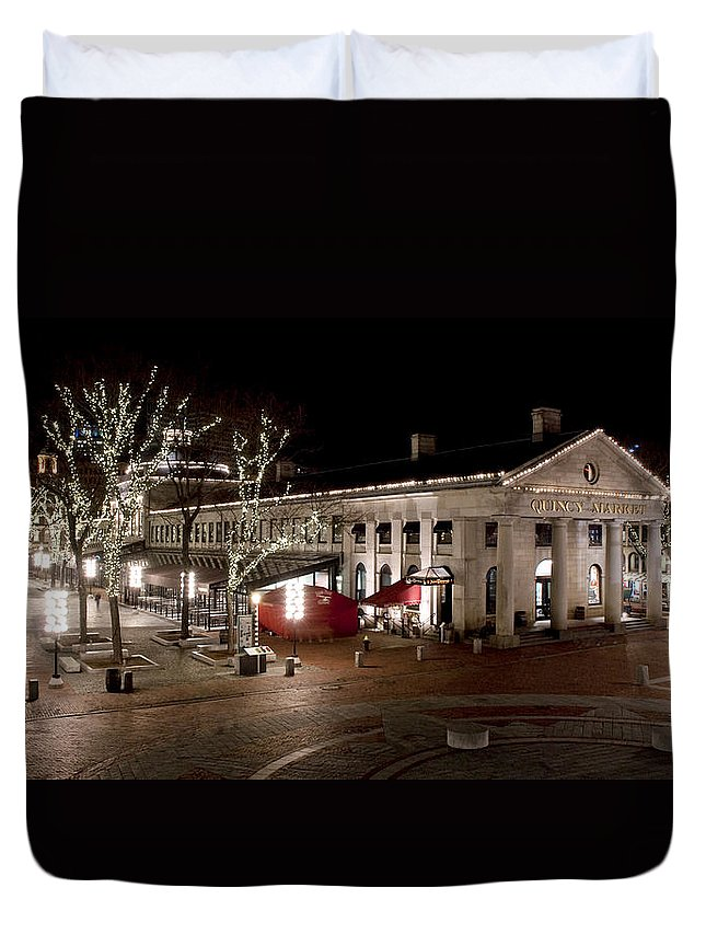 Market Duvet Cover featuring the photograph Night Market by Greg Fortier