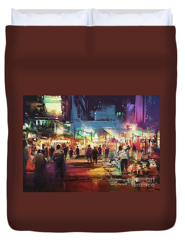 Abstract Duvet Cover featuring the painting Night Market by Tithi Luadthong