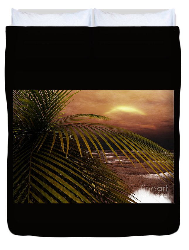 Tropical Duvet Cover featuring the digital art Night Moves by Richard Rizzo