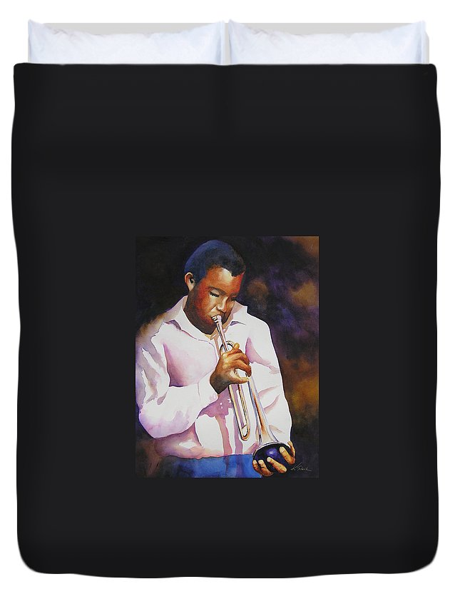 Trumpet Duvet Cover featuring the painting Night Music by Karen Stark