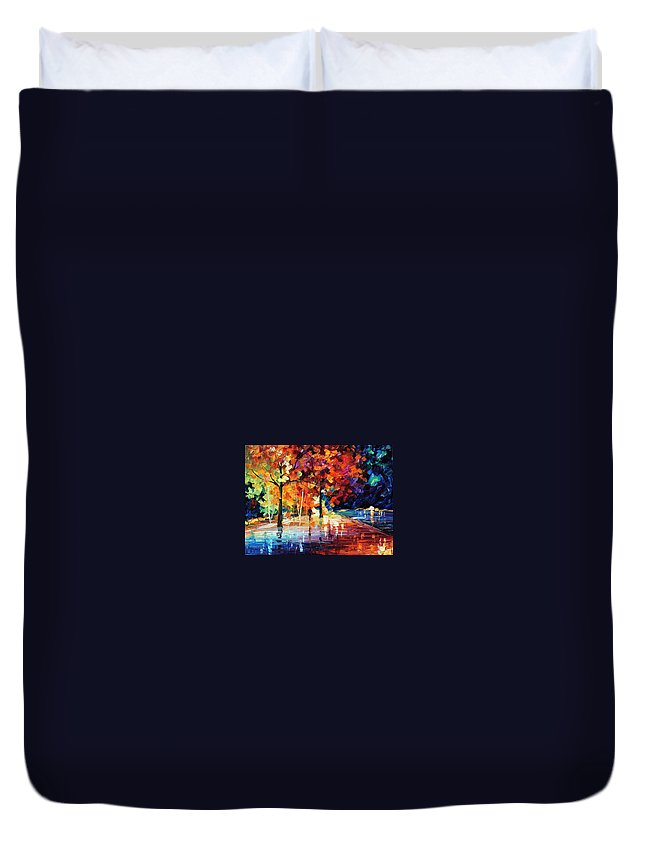 Afremov Duvet Cover featuring the painting Night New Original by Leonid Afremov
