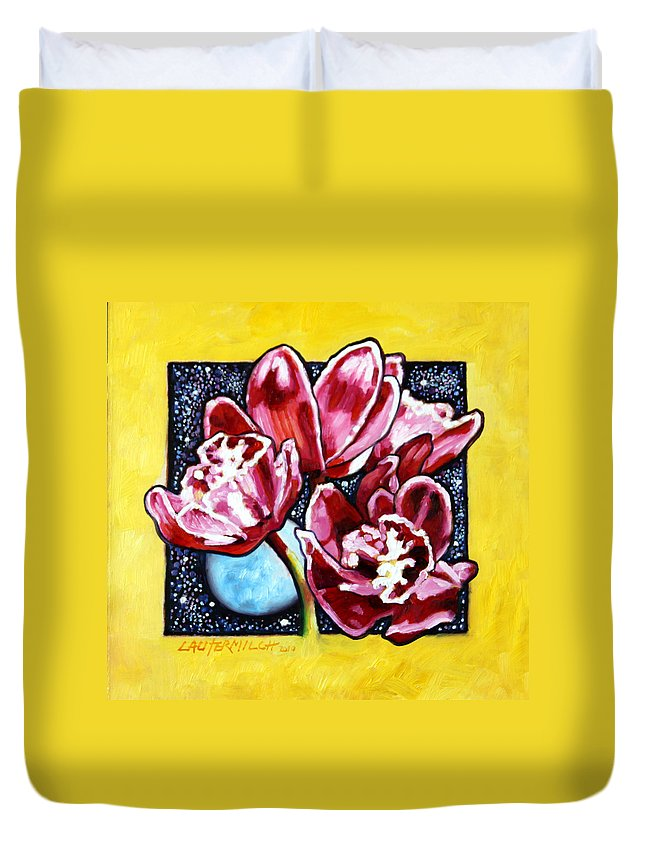 Red Orchids Duvet Cover featuring the painting Night Orchids by John Lautermilch