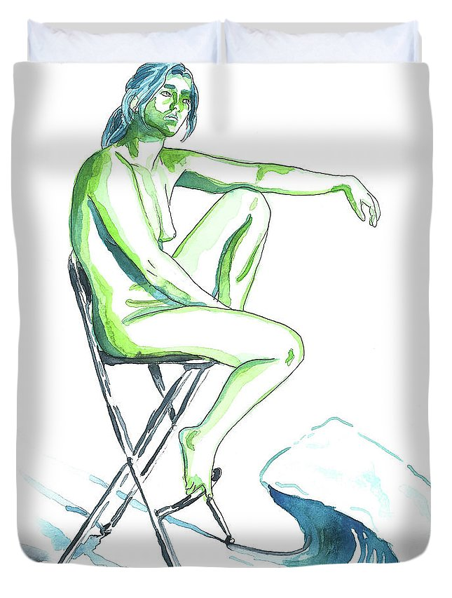 Artistic Nude; Female Nude Duvet Cover featuring the painting Wave by D Renee Wilson