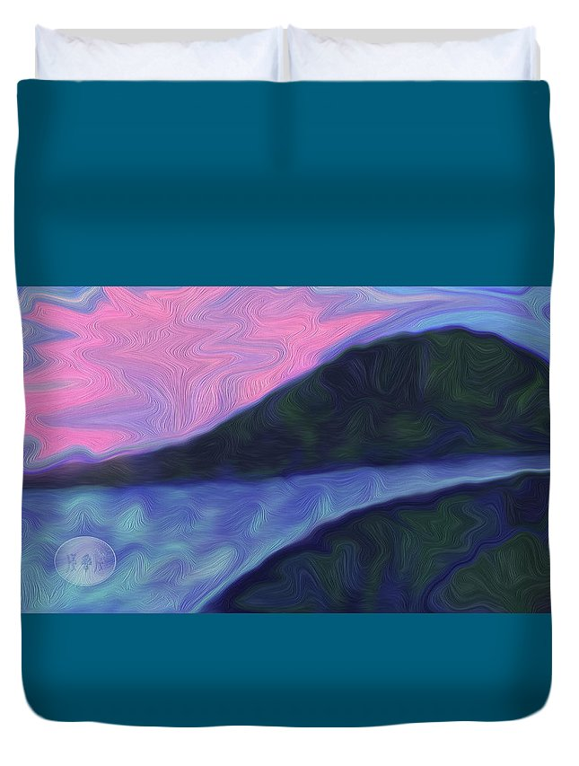 Night River Graphics Duvet Cover featuring the digital art Night River by Karina Balan