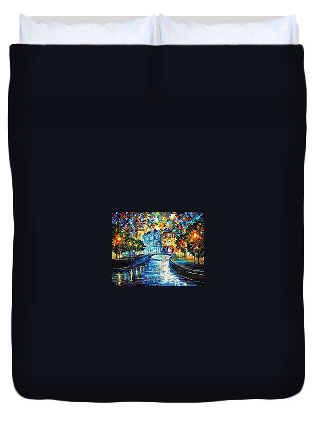 Afremov Duvet Cover featuring the painting Night River by Leonid Afremov