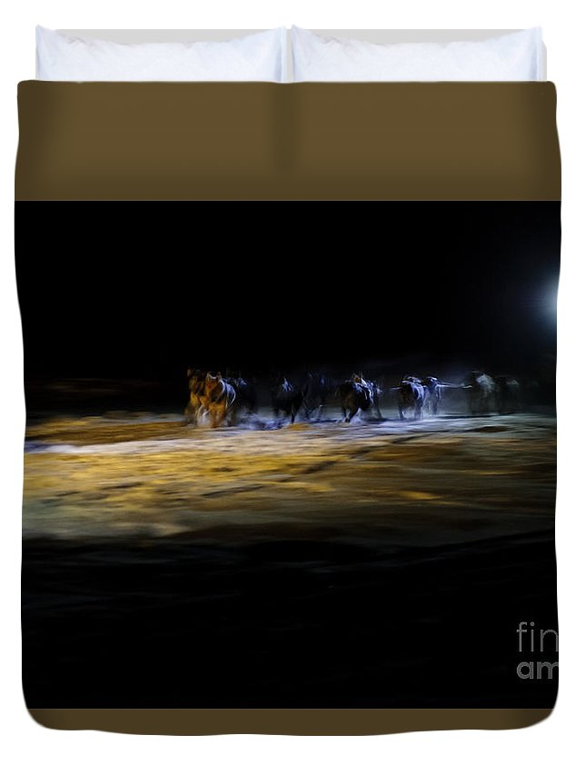 Iditarod Mush Musher Mushhing Sled Dog Dogs Racing Dark Headlamp Duvet Cover featuring the photograph Night Runners by Chip Laughton