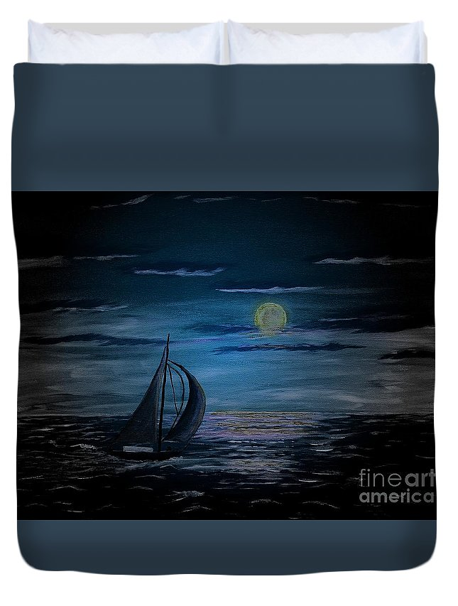 Night Sailing Duvet Cover featuring the painting Night Sailing by Barbara Griffin