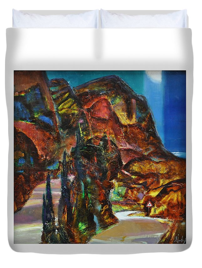 Ignatenko Duvet Cover featuring the painting Night Serpentine by Sergey Ignatenko