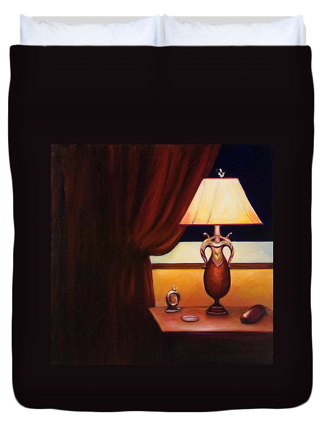 Still Life Red Duvet Cover featuring the painting Night by Shannon Grissom