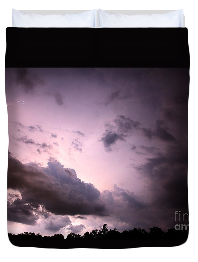Lightning Duvet Cover featuring the photograph Night Storm by Amanda Barcon