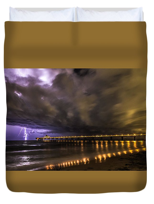 Lighting Duvet Cover featuring the photograph Night Storm by Kevin Stacey
