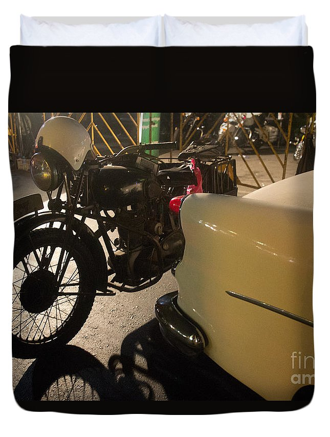 Motorcycle Duvet Cover featuring the photograph Night Time Silhouette Of Vintage Motorcycle Near Tail Of 50's St by Jason Rosette