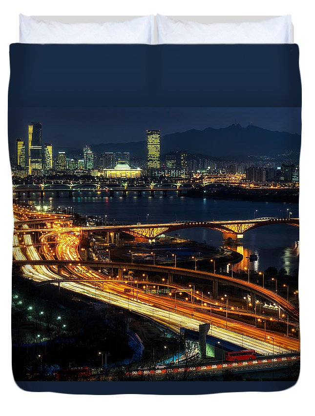 Architectural Detail Duvet Cover featuring the photograph Night Traffic Over Han River In Seoul by Aaron Choi