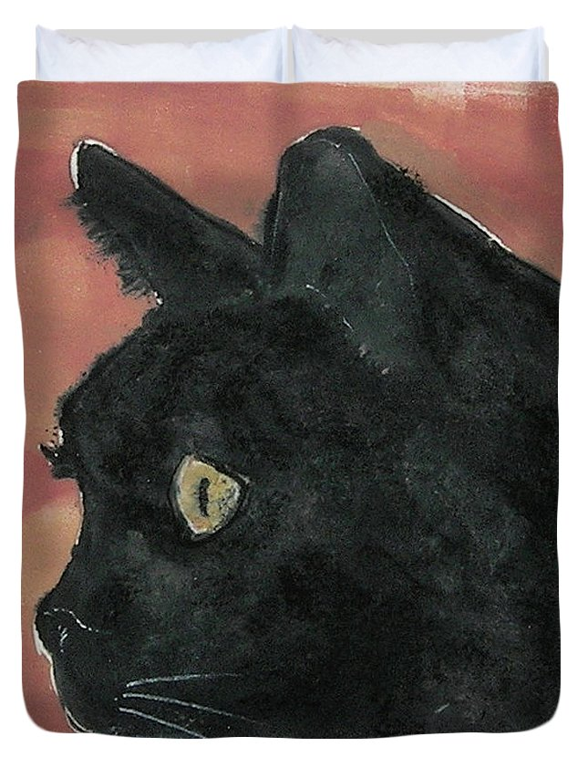 Cat Duvet Cover featuring the mixed media Night Vision by Cori Solomon