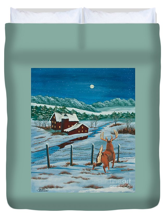 Deer Paintings Duvet Cover featuring the painting Night Watch by Charlotte Blanchard