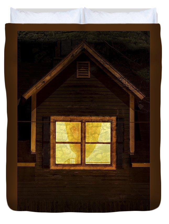 Brattleboro Vermont Duvet Cover featuring the photograph Night Window by Tom Singleton