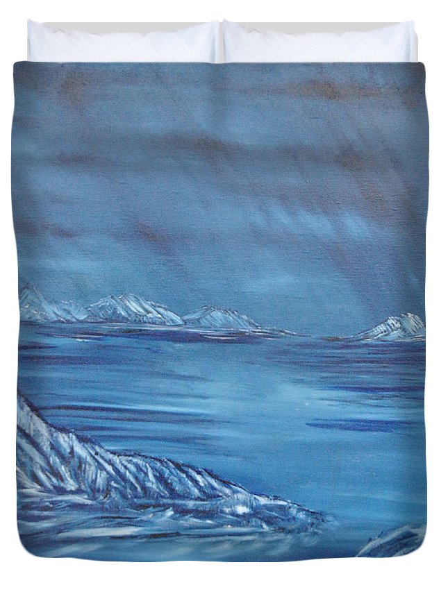 Night Duvet Cover featuring the painting Night World by Suzanne Surber