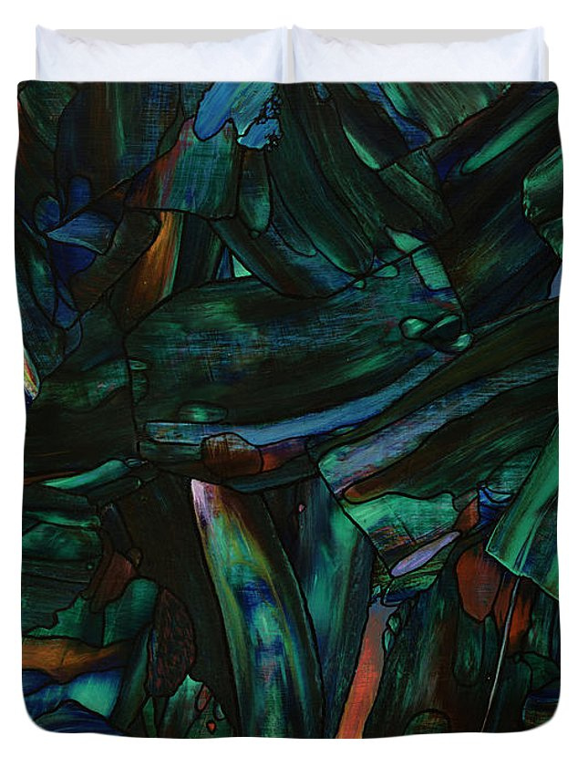 Abstract Duvet Cover featuring the painting Nightfall by James W Johnson