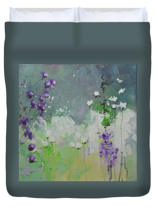 Flowers Duvet Cover featuring the painting Nightfall by KAT Warren