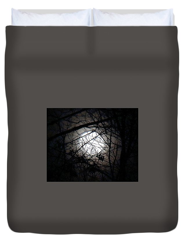 Moon Duvet Cover featuring the photograph Nightfall by Ursula Coccomo