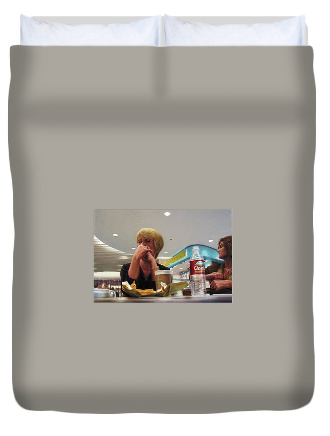 Restaurant Duvet Cover featuring the painting Nighthawks At The Foodcourt by James W Johnson