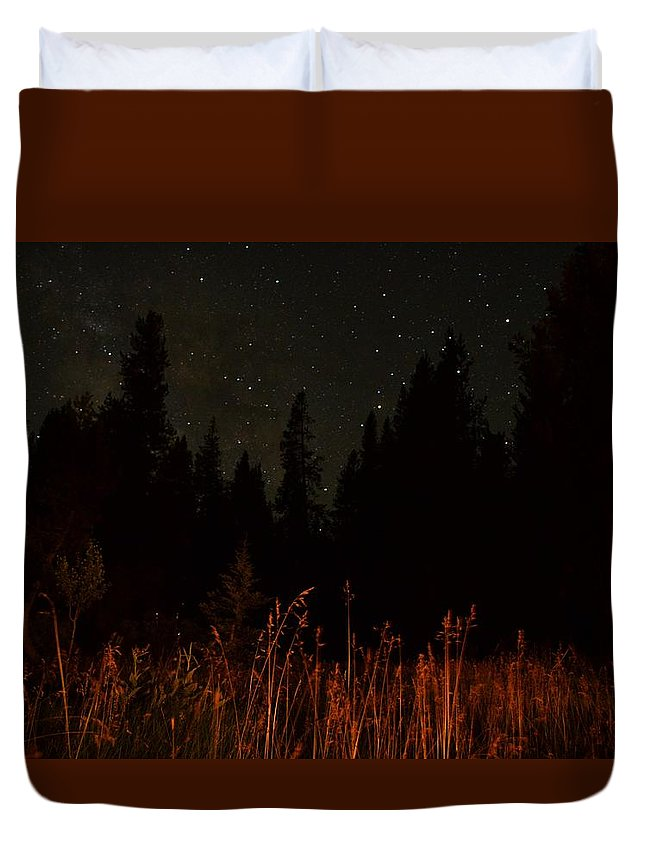 Landscape Duvet Cover featuring the photograph Nighttime Meadow by Jon Bulotti