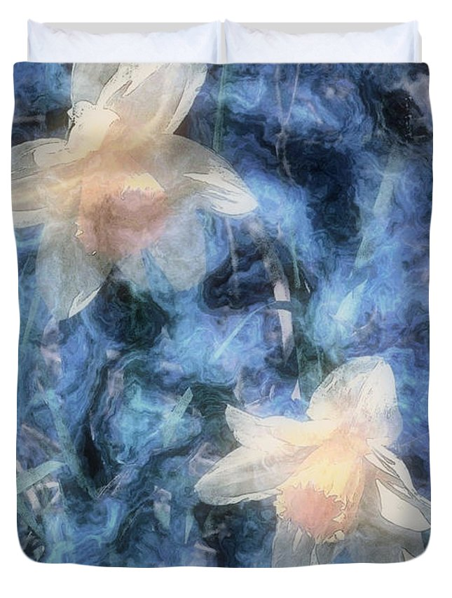 Daffodils Duvet Cover featuring the painting Nighttime Narcissus by RC DeWinter