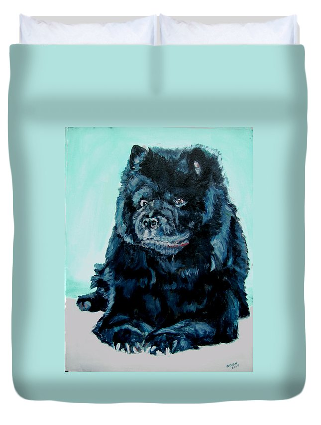 Dog Duvet Cover featuring the painting Nikki The Chow by Bryan Bustard
