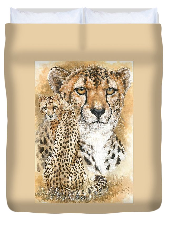 Cheetah Duvet Cover featuring the mixed media Nimble by Barbara Keith