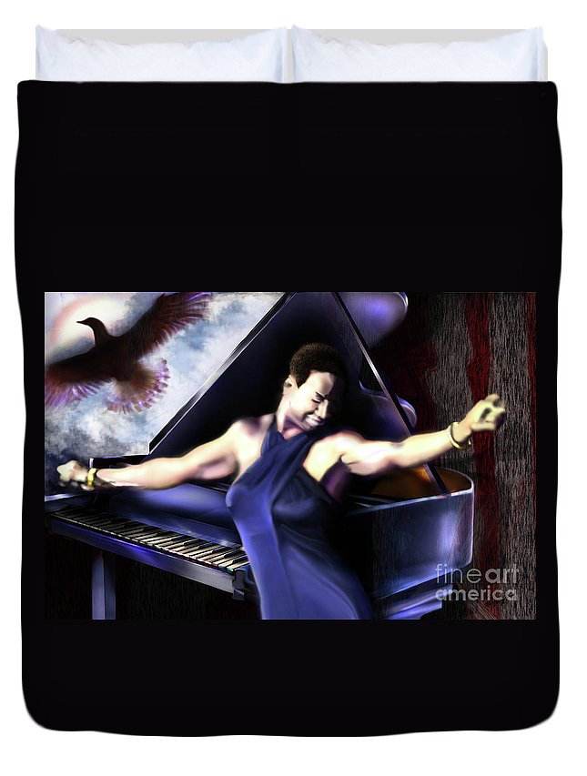Nina Simone Duvet Cover featuring the painting Nina - Feeling Good - Birds Flying High You Know How I Feel by Reggie Duffie