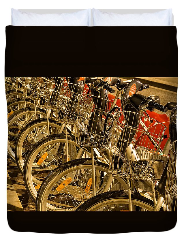 France Duvet Cover featuring the photograph Bikes For Hire In Lyon by Gary Karlsen