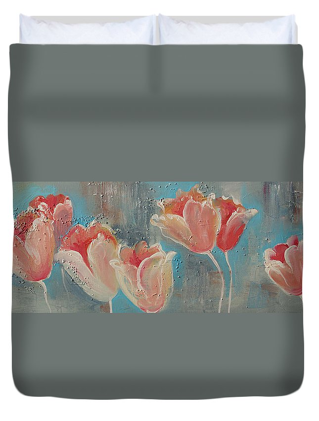Tulips Duvet Cover featuring the painting Nine Tulips by Khromykh Natalia