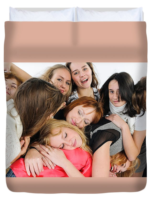 Friend Duvet Cover featuring the photograph Nine Young Women by Nikita Buida