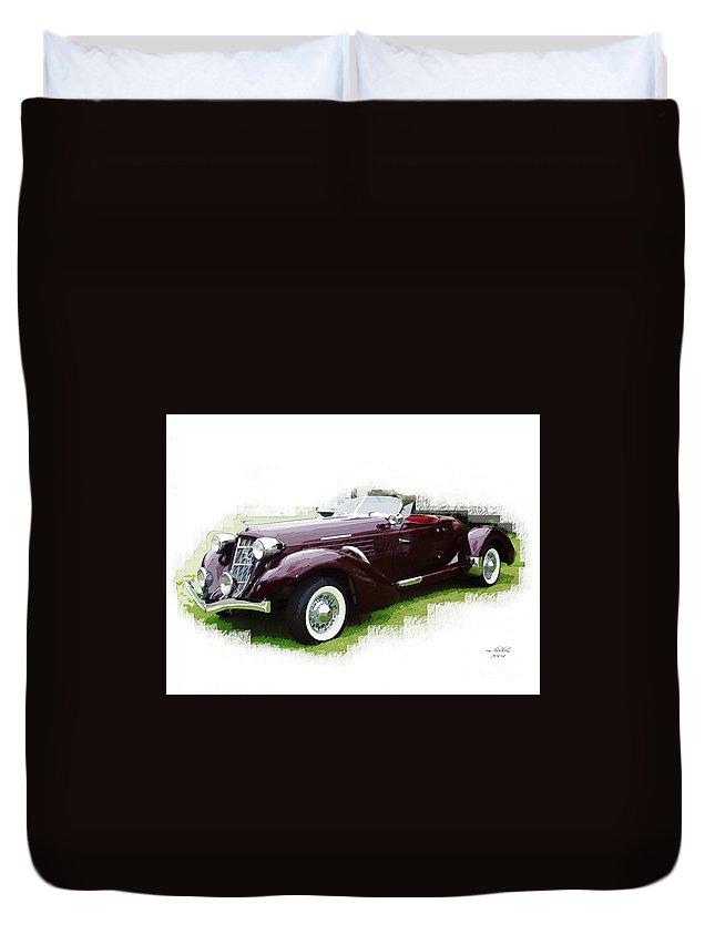 1937 Duvet Cover featuring the digital art Nineteen Thirty-seven Auburn Speedster by Margie Middleton