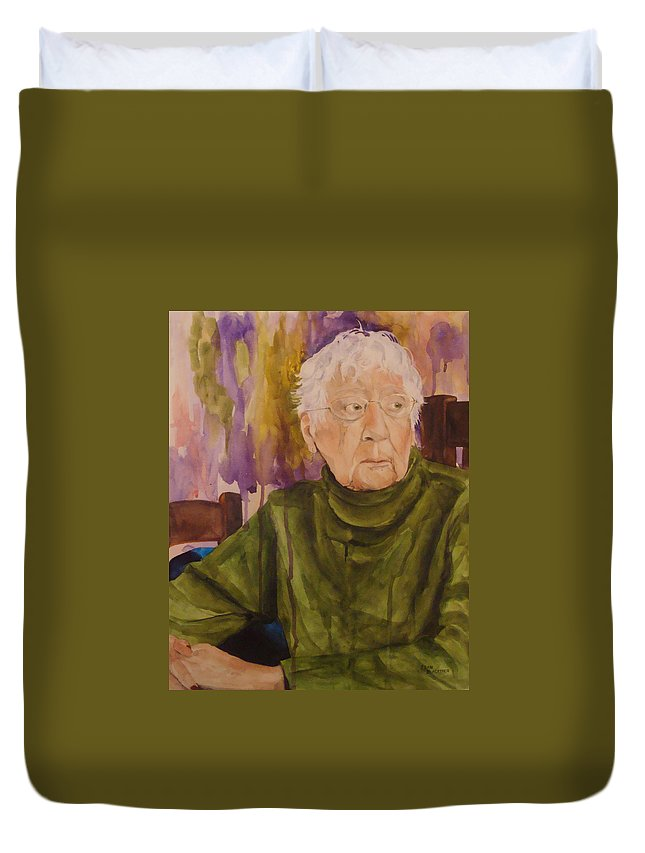 Portrait Duvet Cover featuring the painting Ninety Years Young by Jean Blackmer