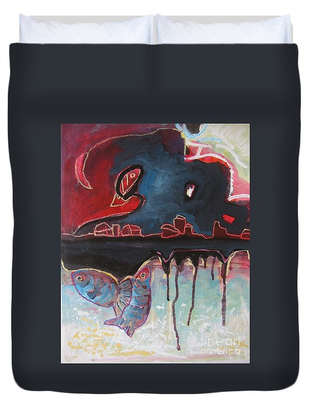 Abstract Paintings Duvet Cover featuring the painting Nipper by Seon-Jeong Kim