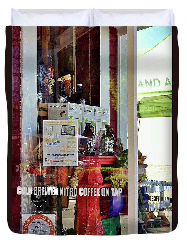 Linda Brody Duvet Cover featuring the photograph Nitro Coffee On Tap by Linda Brody