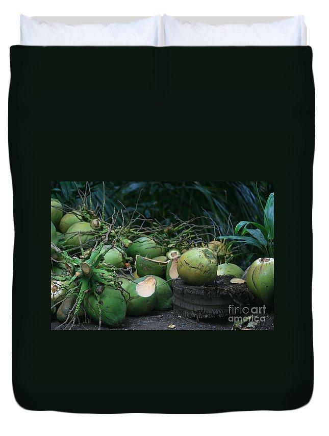 Niu Duvet Cover featuring the photograph Niu Hawaiian Coconuts Hooululahui Kahekilinui Wailuku by Sharon Mau