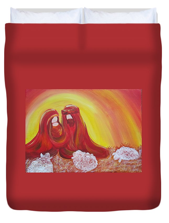 Nativity Duvet Cover featuring the painting No. 6- Nativity Series 2015 by Simone Germain