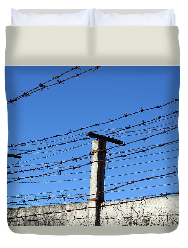 Barbed Duvet Cover featuring the photograph No Admittance by Michal Boubin