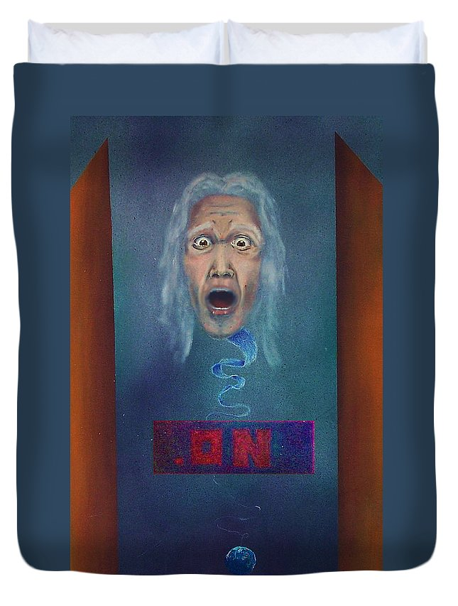 Old Man Duvet Cover featuring the painting No Entry Into Heaven by Albert Puskaric