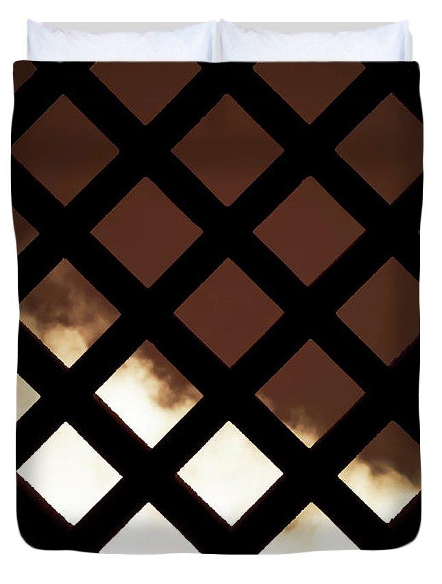 Fence Duvet Cover featuring the photograph No Escape by Wim Lanclus