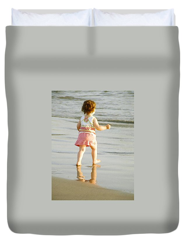 Beach Duvet Cover featuring the photograph No Fear by Margie Wildblood