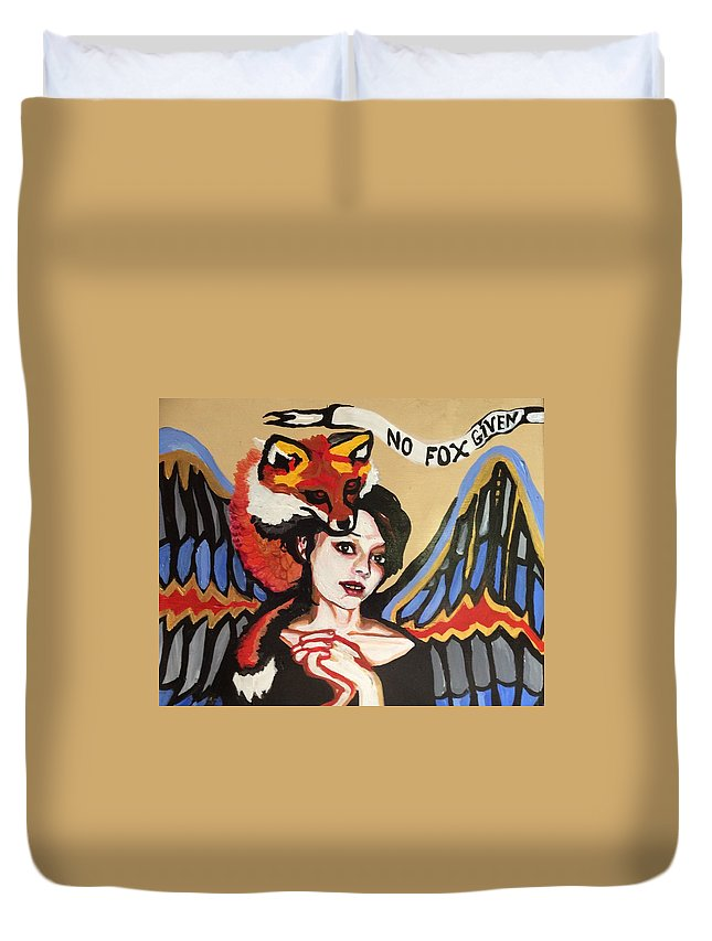 Fox Duvet Cover featuring the painting No Fox Given by Jessica Shoemaker