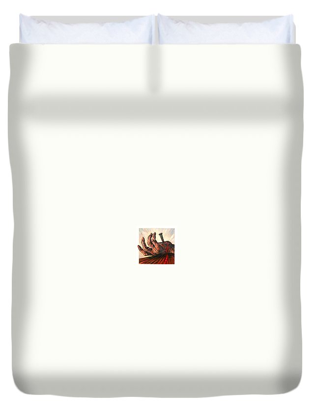 Christ Duvet Cover featuring the painting No Greater Love by John Lautermilch